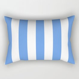 United Nations blue - solid color - white vertical lines pattern Rectangular Pillow