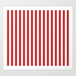 Red and White Candy Cane Stripes Thick Vertical Line Pattern, Festive Christmas Art Print