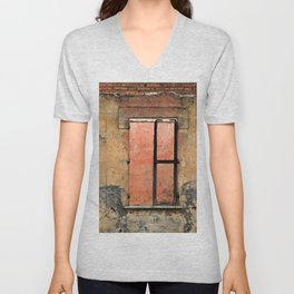 Ruin with Pink Window Unisex V-Neck