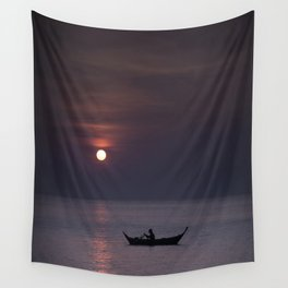 Rowing into the sunset Wall Tapestry