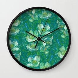 Jasmine Bloom, Summer Flowers, Vintage Floral Pattern  Wall Clock