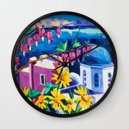 Santorini churches Wall Clock
