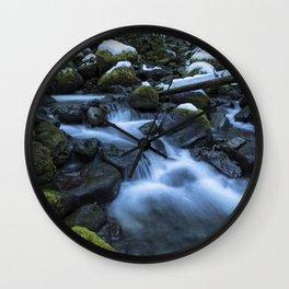 Snow, Moss, Water Over Rocks Wall Clock