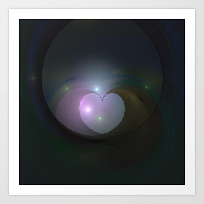 Please Rescue My Heart Fractal Art Print
