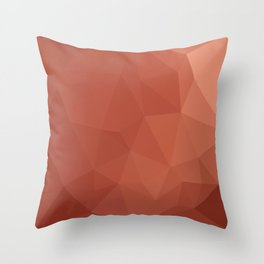 Burnt Sienna Orange Abstract Low Polygon Background Throw Pillow