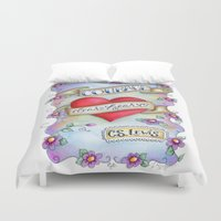 narnia Duvet Covers featuring Courage Dear Heart by Our Grateful Hearts by Jennifer Rydin