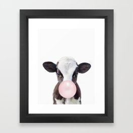 Bubble Gum Baby Cow Framed Art Print