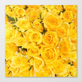 YELLOW ROSES CLUSTERED Canvas Print
