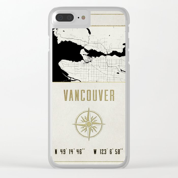 Vancouver - Vintage Map and Location Clear iPhone Case