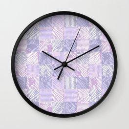 Purple woodcuts Wall Clock