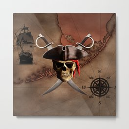 Pirate Map Metal Print