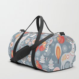 Fairy forest, deer, owls, foxes. Decorative pattern in Scandinavian style. Folk art. Duffle Bag