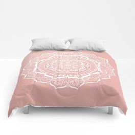 White Flower Mandala on Rose Gold Comforters