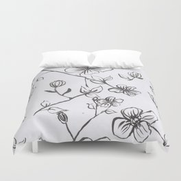 Black and White blooms Duvet Cover