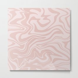Warped Abstract Modern Liquid Swirl in Light Soft Pastel Baby Blush Pink Light Rose Marbled Pattern  Metal Print
