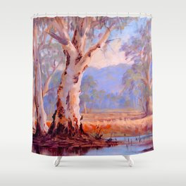 Ovens River Gum Trees Shower Curtain