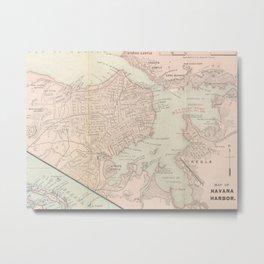 Vintage Map of Havana Cuba (1898) Metal Print