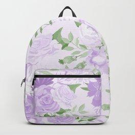 Vintage Purple Flowers Painted Watercolour Garden Pattern Backpack
