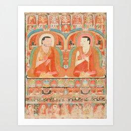 Portrait of Two Lamas, 13th Century Tibetan Art Art Print