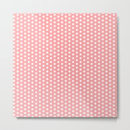 White polka dots in pink background Metal Print