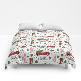 Merry Christmas Red Vintage Truck with Tree Comforters