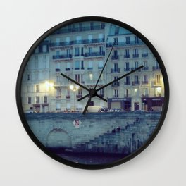 Paris by Night: Ile de la Cite Wall Clock
