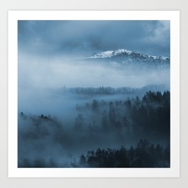 Mountains and fog. Art Print