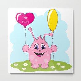 Cute pink monster loves you Metal Print