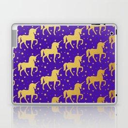 Purple and Gold Unicorn and Stars Pattern Laptop & iPad Skin