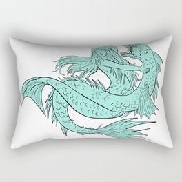 Mermaid Grappling With Sea Serpent Drawing Color Rectangular Pillow