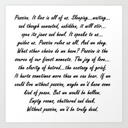 Buffy Passion Quote Art Print