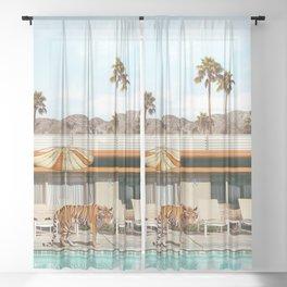 Pool Party Tiger Sheer Curtain