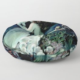 Henry Clive: Mermaid with Pearl dark teal Floor Pillow