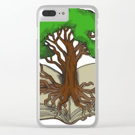 Oak Tree Roots on Book Tattoo Clear iPhone Case