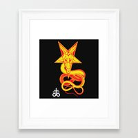 pentagram Framed Art Prints featuring Pentagram Goathead by T Alexander