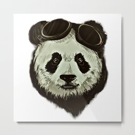 Panda Bear in Hipster Style Metal Print