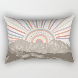 Bohemian Tribal Sun / Abstract Vintage Mountain Happy Summer Vibes Retro Colorful Pastel Sky Artwork Rectangular Pillow