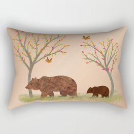 Walk In The Woods With Mama Bear Rectangular Pillow