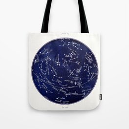 French October Star Map in Deep Navy & Black, Astronomy, Constellation, Celestial Tote Bag