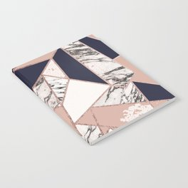 Geometric Navy Blue Peach Marble Rose Gold Triangle Notebook