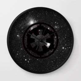 Cosmic Galactic Empire in Black White and Red Wall Clock