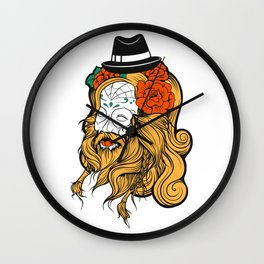 Bearded Women Girl Wall Clock
