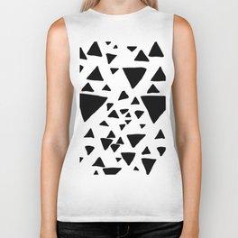 Black white hand painted geometric triangles Biker Tank