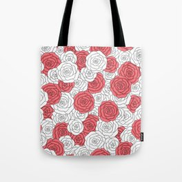 Painting White Roses Red Tote Bag