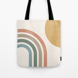 Mid Century Colorful Sun & Rainbow Tote Bag