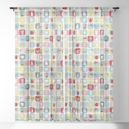 Retro Coffee Pots and Cups Pattern Sheer Curtain
