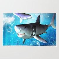 shark Area & Throw Rugs featuring Shark by nicky2342