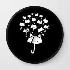 minima - cat rain Wall Clock