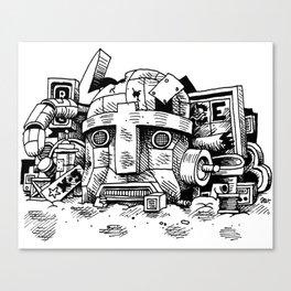 Robot Junkyard Canvas Print