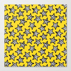 Yellow Zebra print stars Canvas Print